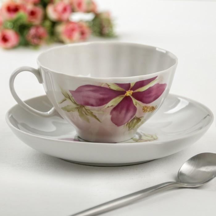 """Чайная пара 275 мл """"Белый лебедь. Альпийские цветы"""", рисунок МИКС"""