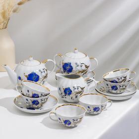 Сервиз чайный «Тюльпан. Синий мак», 15 предметов
