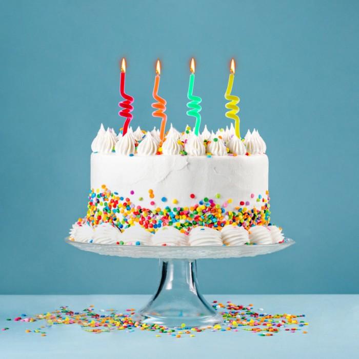 """Свечи восковые для торта """"Спиральки"""" (набор 4 шт и 2 подставки) - фото 35609097"""