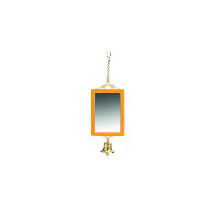 Зеркало Beeztees   прямоугольное с колокольчиком, пластик, 12*6см