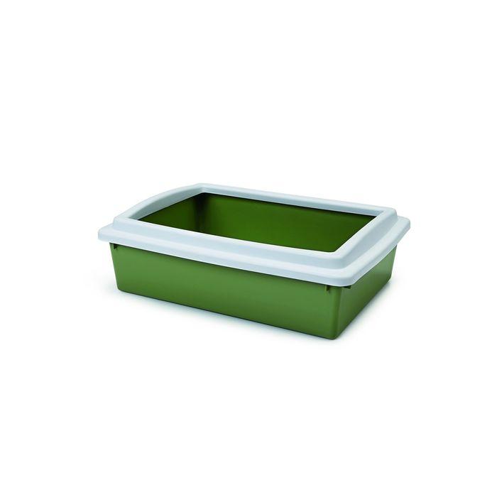 Туалет Beeztees для кошек с бортиком зеленый, 40 х 30 х 10 см