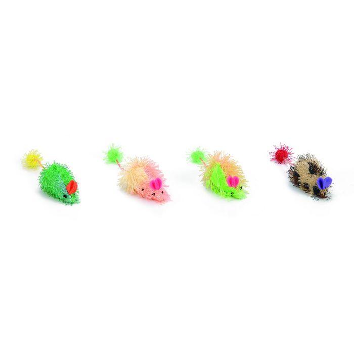 """Игрушка Beeztees   для кошек """"Мышь"""" разноцветная, в ассорт. 6,5см"""