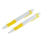 Ручка шариковая, автоматическая, корпус белый с жёлтым резиновым держателем, стержень синий