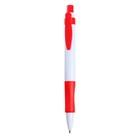 Ручка шариковая, автоматическая, корпус белый с красным резиновым держателем, стержень синий