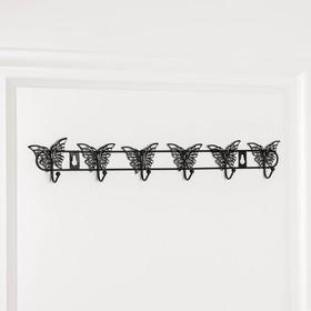 Вешалка настенная на 6 крючков «Бабочки», 41,5×7,5×3,5 см, цвет чёрный - фото 4641519
