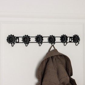 Вешалка настенная на 6 крючков Доляна «Ромашки», 41,5×5,5×3 см, цвет чёрный