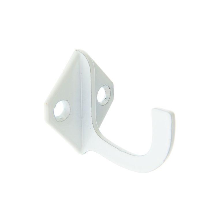 Крючок для одежды, однорожковый, малый, белый