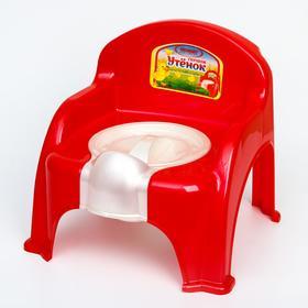 Горшок-стульчик «Утёнок» с крышкой, цвет красный
