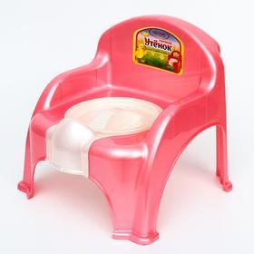 Горшок-стульчик «Утёнок» с крышкой, цвет розовый