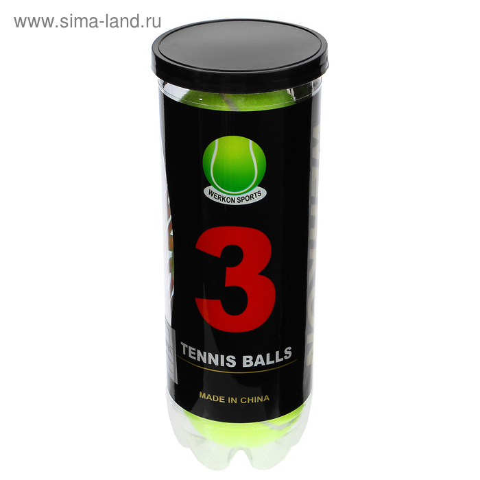 Мяч для большого тенниса WERKON 969, с давлением (набор 3 шт)