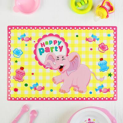 """Подтарельник бумажный """"Веселый слоник"""" розовый цвет (набор 6 шт)"""