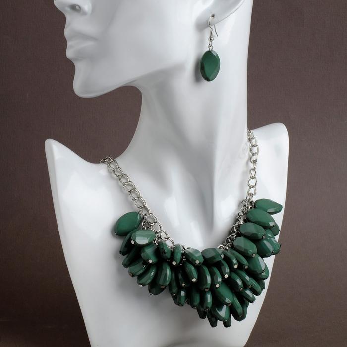 """Набор 2 предмета: серьги, колье """"Каскад"""" роскошь, цвет зелёный в серебре"""