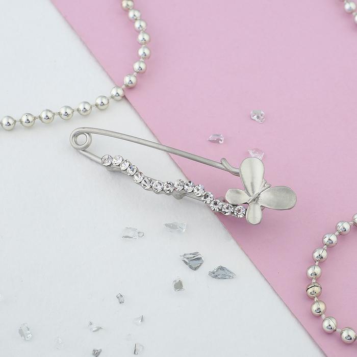 """Булавка """"Бабочка"""", 6,7см, цвет белый в матовом серебре"""