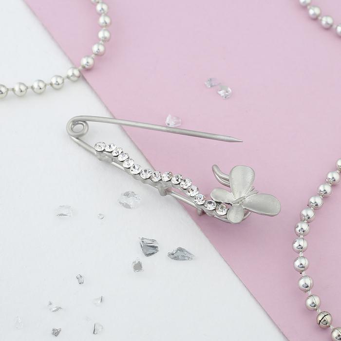 """Булавка """"Бабочка"""", 6,7см, цвет белый в матовом серебре - фото 304249003"""