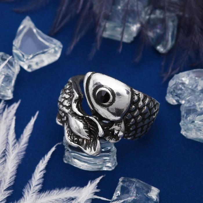 """Кольцо """"Рыбка"""", размер 19, цвет чернёное серебро"""