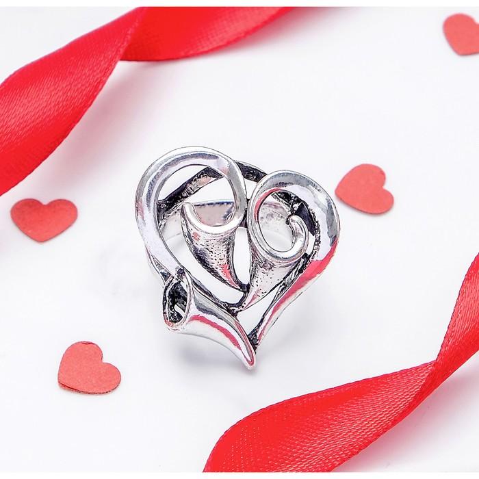 "Кольцо ""Сердце"", размер 17, цвет чернёное серебро"