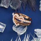 """Кольцо """"Завиток"""" сердце, размер 16, цвет белый в золоте"""