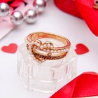 """Кольцо """"Завиток"""" сердце, размер 17, цвет белый в золоте"""