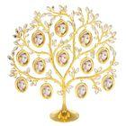 "Фоторамка металл на 12 фото 4х3 см ""Дерево с кристальными листьями"" золото 30х29х8 см"