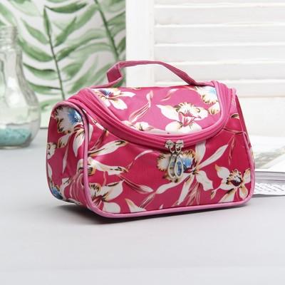 Косметичка-сумочка «Цветы», отдел на молнии, цвет малиновый