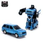 Робот радиоуправляемый «Джип», трансформируется, работает от аккумулятора, заряд от USB, цвет синий