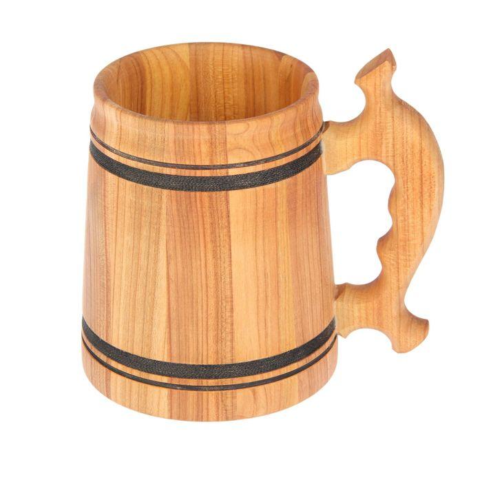 """Кружка пивная деревянная """"Дачная"""", большая, 0,7 л"""
