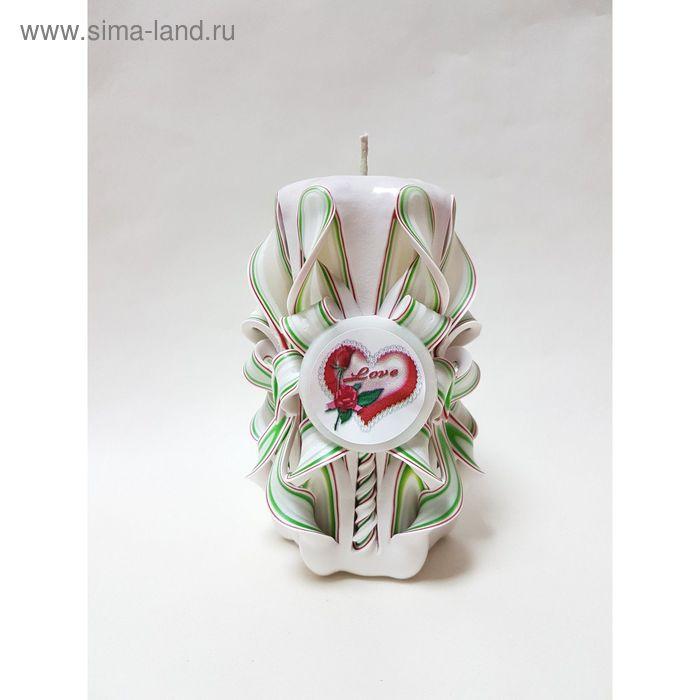 """Свеча резная 10-11см """"Love"""" белая с зеленым и красным"""