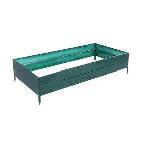 Грядка оцинкованная, 195 × 100 × 34 см, зелёная, Greengo