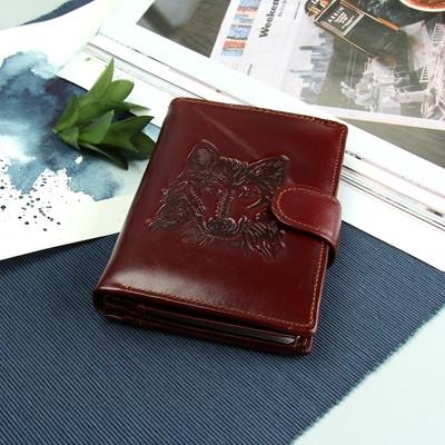 """Портмоне мужское 3 в 1 """"Волк"""", с отделом для автодокументов и паспорта, 2 отдела для монет и карт, цвет коричневый"""