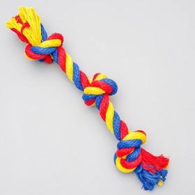 """Игрушка канатная """"Веревка"""", ф16, 3 узла, 35-37 см, микс"""