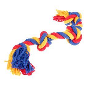 """Игрушка канатная """"Веревка"""", ф16, 4 узла, 42-44 см, микс"""