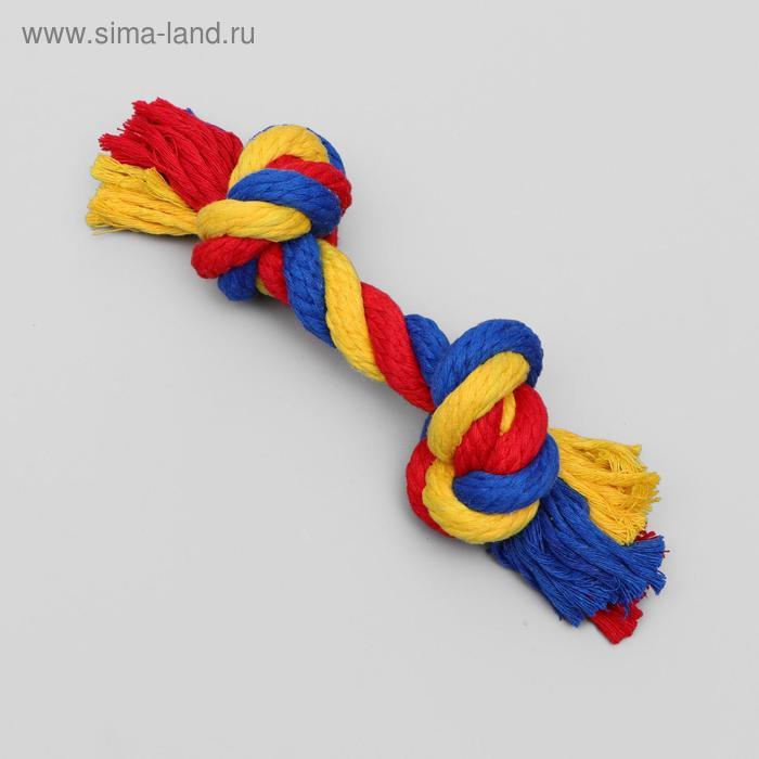 """Игрушка канатная """"Веревка"""" Зооник, ф16, 2 узла, 20-22 см"""