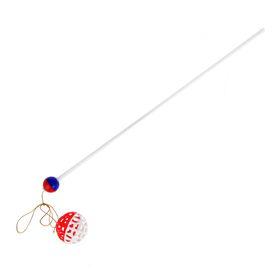 Дразнилка-удочка с сетчатым мячиком Зооник, 50 см, микс