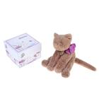 """Мягкая игрушка """"Кот"""", 15см, цвет светло-коричневый/фиолетовый"""