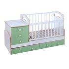 Детская кровать-трансформер Infanzia с поперечным маятником, цвет белый/фисташковый