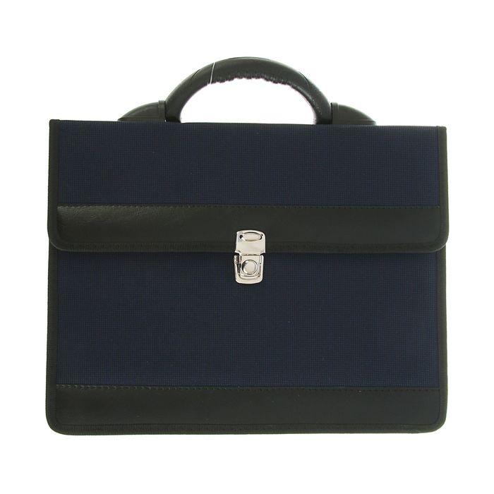Портфель деловой «Приморск», 350 х 260 х 10 мм, ткань, синий - фото 405920992