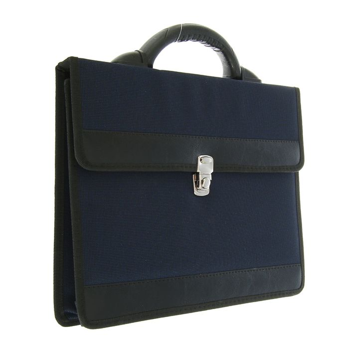 Портфель деловой «Приморск», 350 х 260 х 10 мм, ткань, синий - фото 405920993