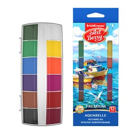 Акварель ArtBerry Premium, 12 цветов, в пластиковой коробке, УФ-защита яркости, крышка палитра, кюветы увеличенного объема, европодвес