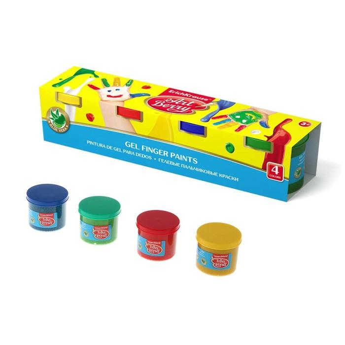 Краски пальчиковые, набор 4 цвета х 100 мл, ArtBerry, с Алоэ Вера