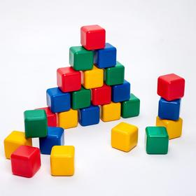 A set of colored blocks, 25 pieces, 12 × 12 cm