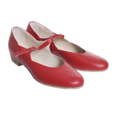 Туфли народные женские, длина по стельке 23,5 см, цвет красный