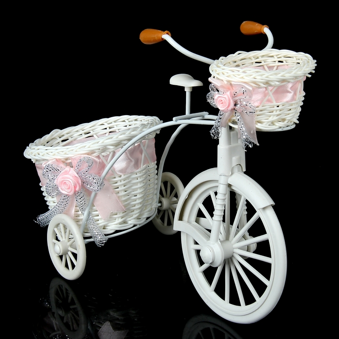 """Basket decorative """"Bicycle with pink pots"""""""