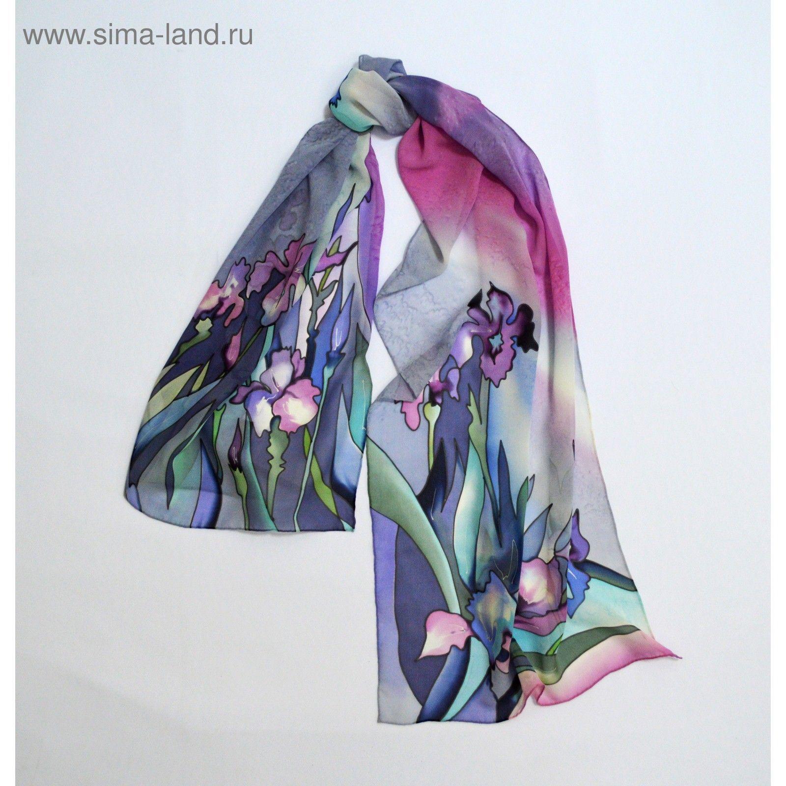 Шарф ручная роспись Ирисы (розово-фиолетовый), 45х175 см, шифон 100% шёлк 60207b306bc