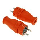Вилка кабельная T-plast, 16 А, 2Р+Е, каучук, IP 44, оранжевая, 31.01.301.2300,