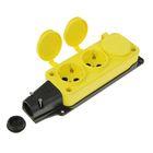 Колодка тройная с заглушками, 2Р+Е, 16 А, IP 44, желтая, каучук, 31.01.308.0700