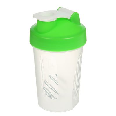 Shaker 400 ml, with bulb, clear, green cover, 9х17 cm
