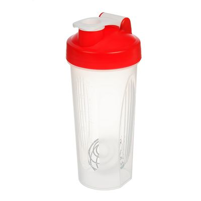 Shaker 600 ml, with bulb, clear, lid red, 9х21.5 cm