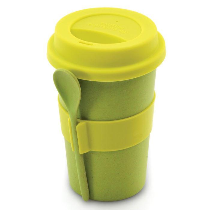 Кружка для кофе с ложкой CooknCo, 0.5 л, цвет зелёный