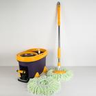 Набор для уборки: ведро на ножках с педальным отжимом и металлической центрифугой 20 л, швабра, запасная насадка из микрофибры, дозатор, цвет МИКС - фото 895379