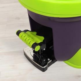 Набор для уборки: ведро на ножках с педальным отжимом и металлической центрифугой 20 л, швабра, запасная насадка из микрофибры, дозатор, цвет МИКС - фото 4644021